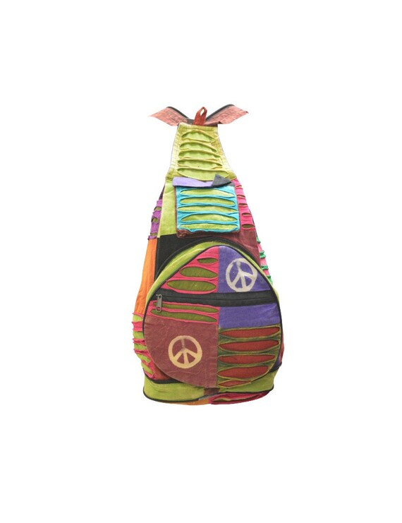 100% Cotton Recycled Hippie Patchwork Rucksack 2in1 Boho Pouch Peace Print Front Zip Pocket Shoulder bag P6