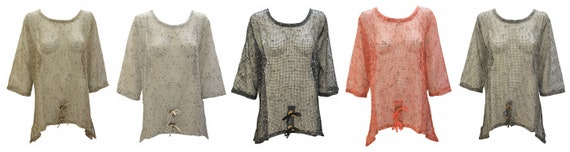 Womens Knit Swing Top Boho Crochet Mesh Cover up Dress Shrug Free Size Up To 20
