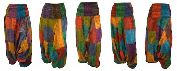 Upcycled Aum Harem Pants Cotton Patchwork boho loungewear Low crotch 2in1 Romper Free Size 8 To 18 P6-P10
