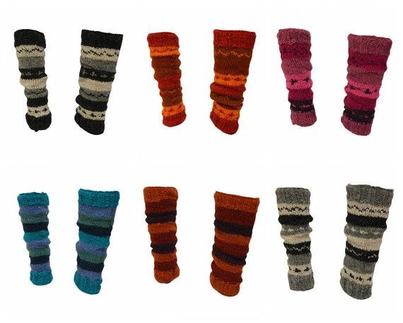 Winter 100% Wool Leg Warmers Hand Knit Warm Chic Stripy Comfy Fleece Lined P19 - P24