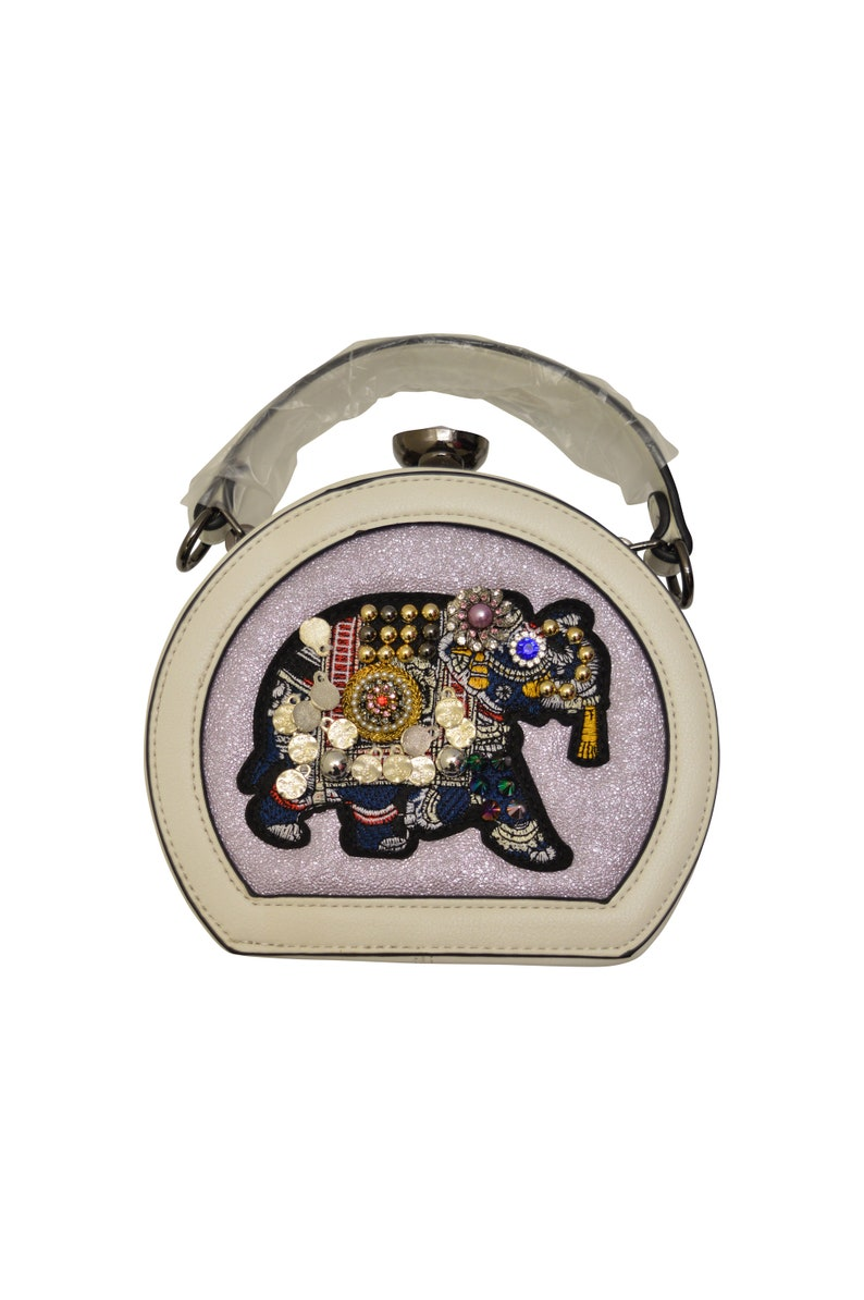 Statement Faux Leather Mini Elephant Embroidery Hippie image 0
