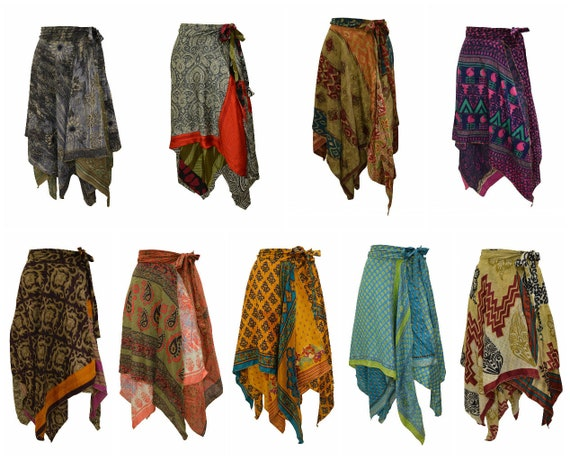 Upcycled Wrap- around Skirt Reversible Vintage Patchwork handkerchief Hem Boho Midi Free Size up to size 18 P287- P296