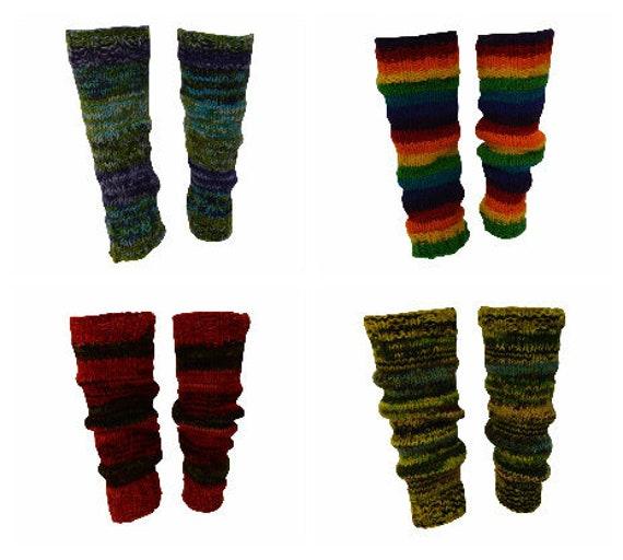 Winter 100% Wool Hand Knit Warm Chic Stripy Comfy Leg Warmers