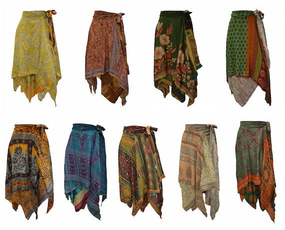 Upcycled Wrap- around Skirt Reversible Vintage Patchwork handkerchief Hem Boho Midi Free Size up to size 18 P269- P277