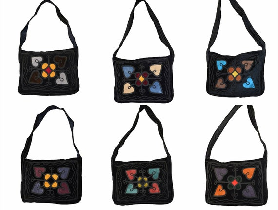 Handmade boho hippie recycled velvet across body shoulder bag embroidered purse p9 - p14