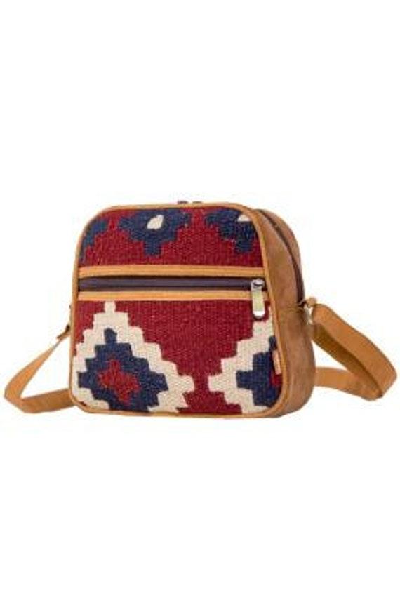 Boho Hippie 100% Wool Geometric print Crossbody Mini Satchel Shoulder Strap Bag