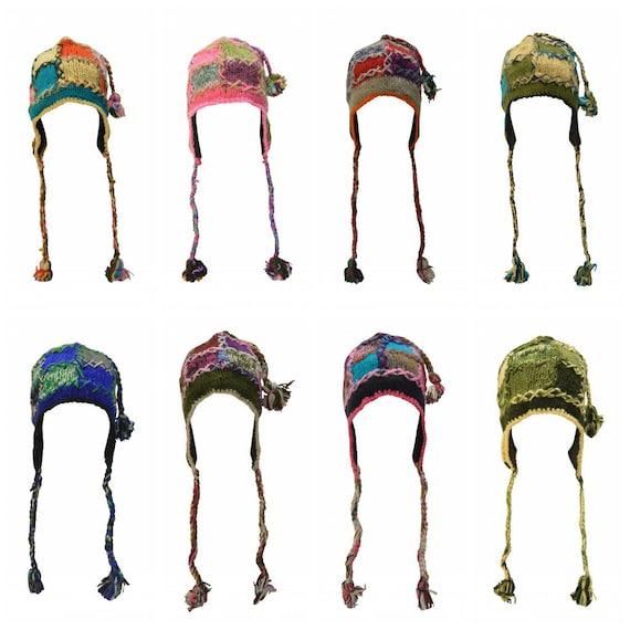 Handmade knit 100% wool unisex adults  bobble short tassel Stitched boho hippie warm fleece lined winter hat P1-P8