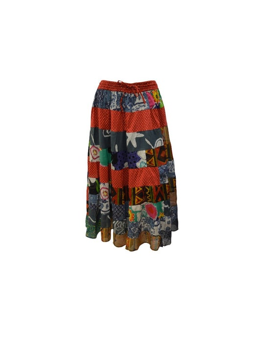Upcycled Rockabilly Skirt Full Floral tier Patchwork Polka dot Skirt Red Free Size up to 18
