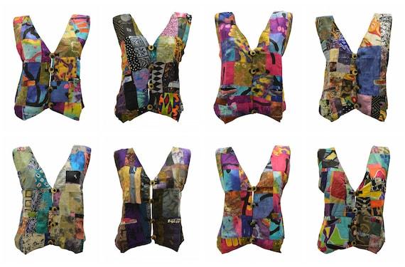 Handmade Upcycled Waistcoats Funky Boho Retro Patchwork Vest Size 14 P88- P95