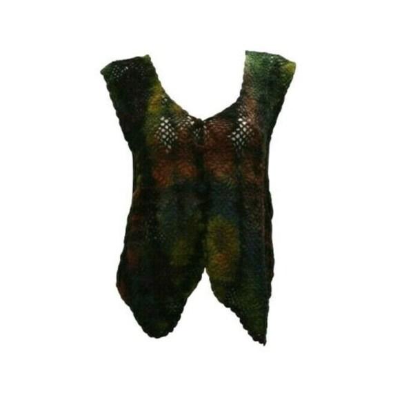 Boho hippie crochet vintage style knitted upcycled sleeveless waistcoat freesize up to size 16
