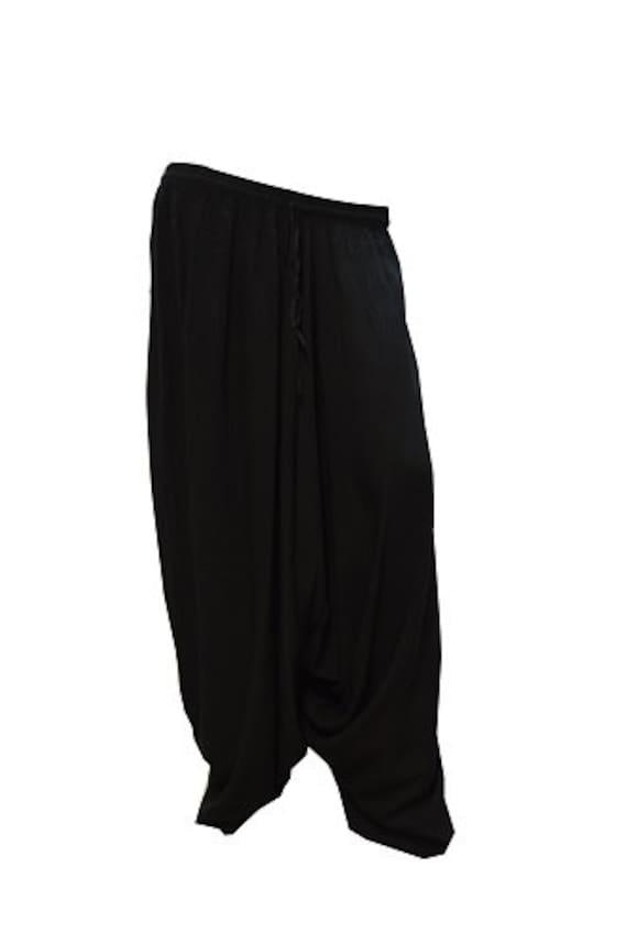 Plus Size Boho Hippie Festival Baggy Low Drop Harem Pants Black