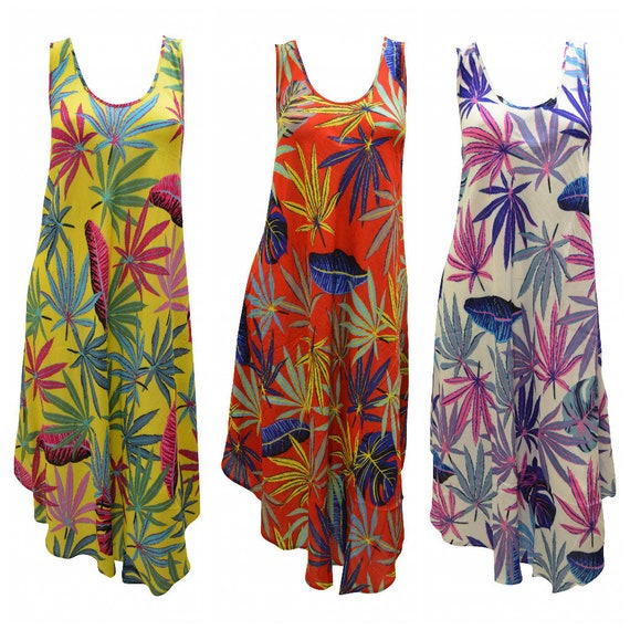 Womens Swing Dress Plant Print High- Low Umbrella Pocket Shift Free Size Up to 18