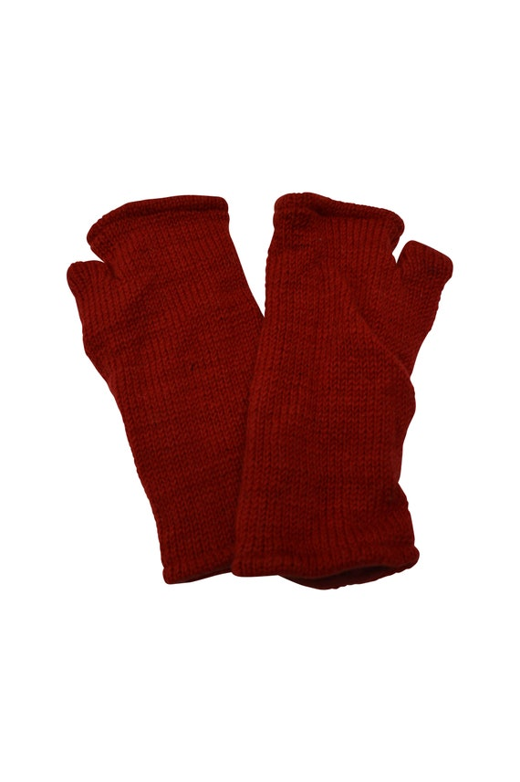Handmade Knit 100% Wool Winter Fingerless Hand Warmers Fleece Lining Gloves One Size Red P24