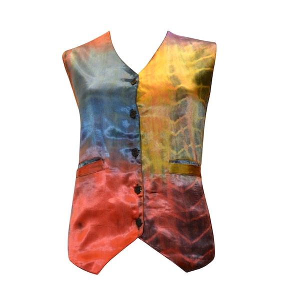 boho hippie retro vintage style tie dye waistcoat up to size 16