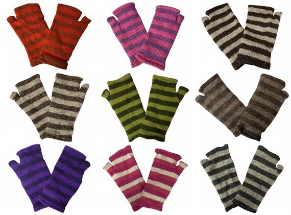 Handmade Knit Handwarmers 100% Wool Winter Striped Fingerless Fleece Lined Gloves One Size P30- P39