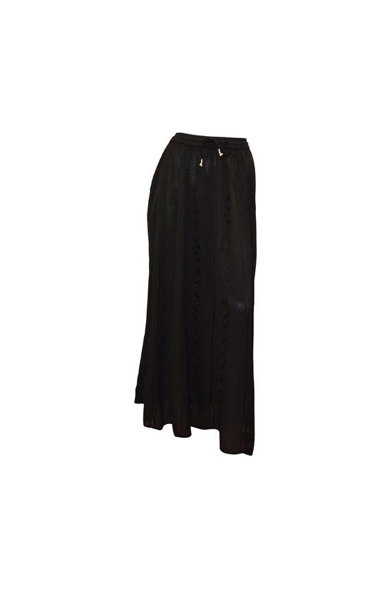 Boho hippie vintage style floral embroidered drawstring maxi skirt black up to size 20