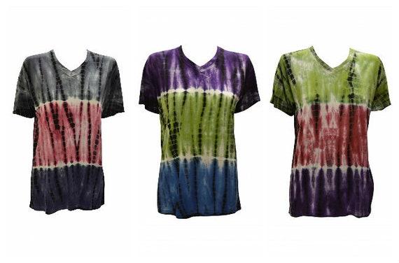 Tie- Dye Unisex T-shirt Casual V- neck Short Sleeve Festival Hippie Top Size M L XL