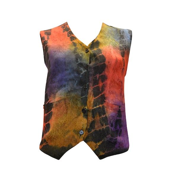 boho hippie retro vintage style paisley embroidered tie dye waistcoat up to size 12