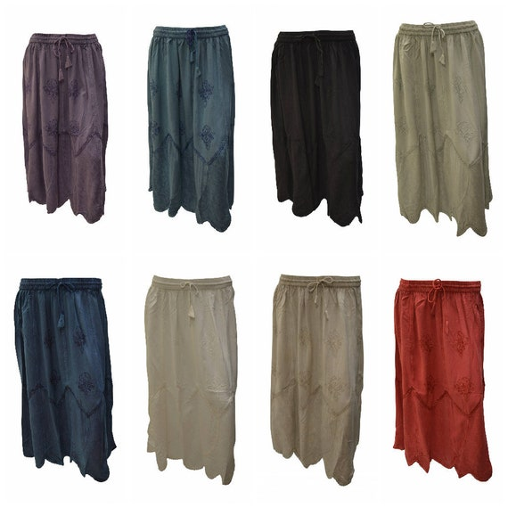 Womens Boho Midi Skirt Floral embroidered Scallop Hem Panel Gypsy Midi Free Size 12-22