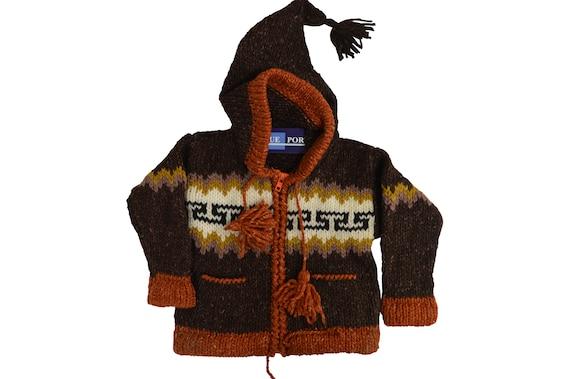 Kids baby boho hippie pixie hooded nomad aztec ethnic 100% wool zip fleece coat jacket p9