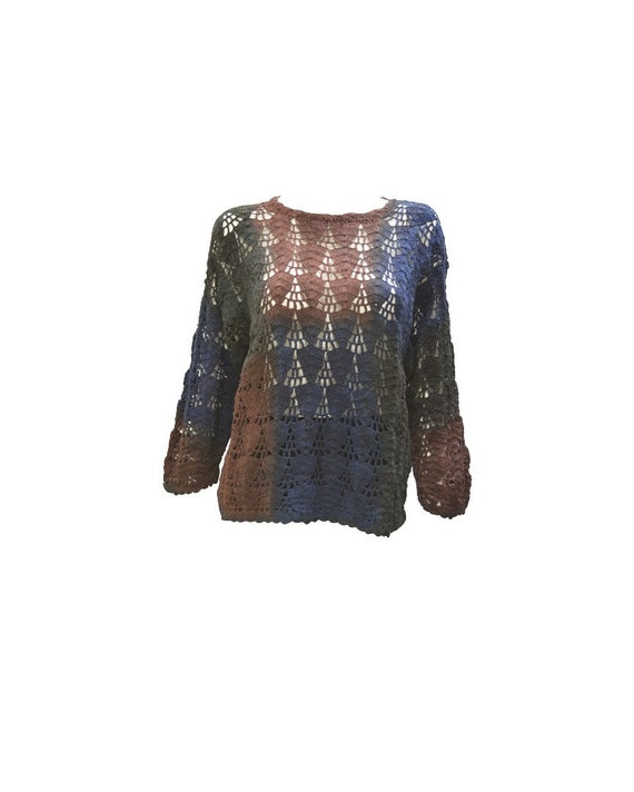 Upcycled Crochet Sweater Hand Knit Tie-dye Long Sleeve Pullover Free Size