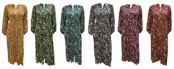 Womens Floral Tea Dress Button Up Band collar Maxi Free Size Up to 16