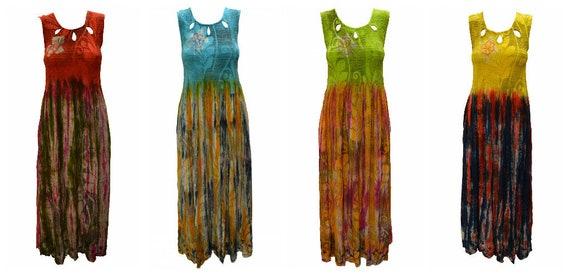 Womens Tie-dye Dress Floral Print Sleeveless Boho Ombre Lightweight Maxi Freesize 8- 12
