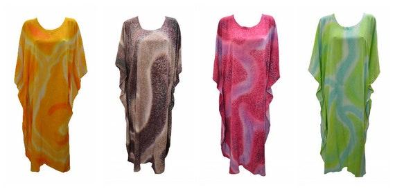 Womens Plus Size Kaftan Handmade Boho Marble Effect Maxi Batwing Loungewear Free Size Up To 28