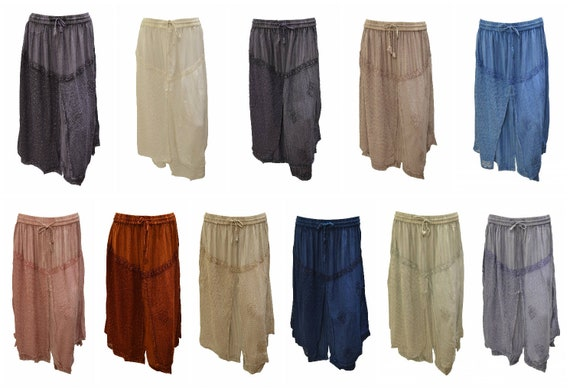 Womens Plus Size Skirt Boho Embroidered Lace Layered Gypsy Midi Free Size 12-22