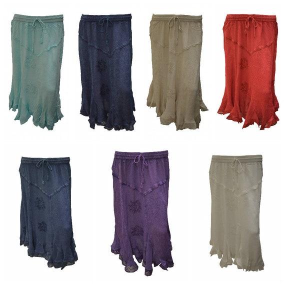 Womens Boho Midi Skirt Floral embroidered Ruffle Hem Panel Gypsy Midi Free Size 12-22