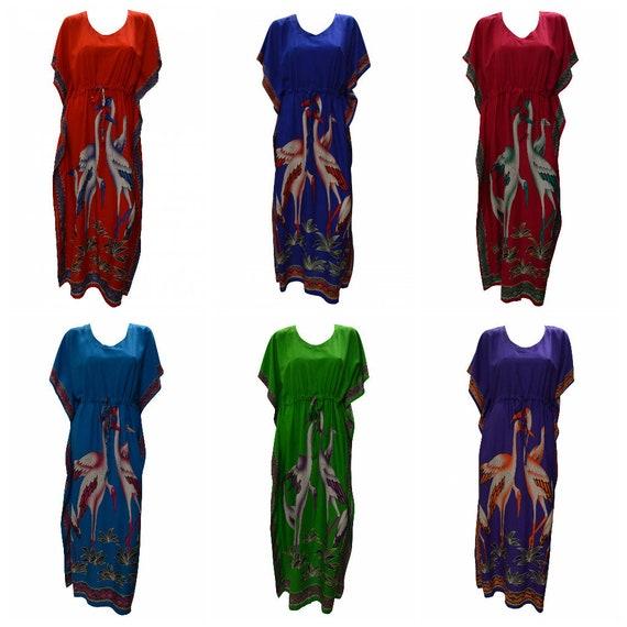 Womens Ladies Boho Loungewear Stork Family Print Batwing Sleeve Hippie Kaftan Free Size Up To 18