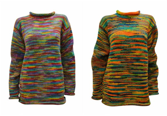 100% Wool Chunky Knit Sweater Oversized Unisex Long Sleeves Rolled Neck Cosy Winter Pullover  S/M L/XL XXL