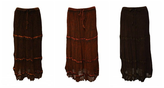 Womens Ladies Boho Lace Crinkled Tiered Stripe Gypsy Maxi Skirt Freesize Up To 16