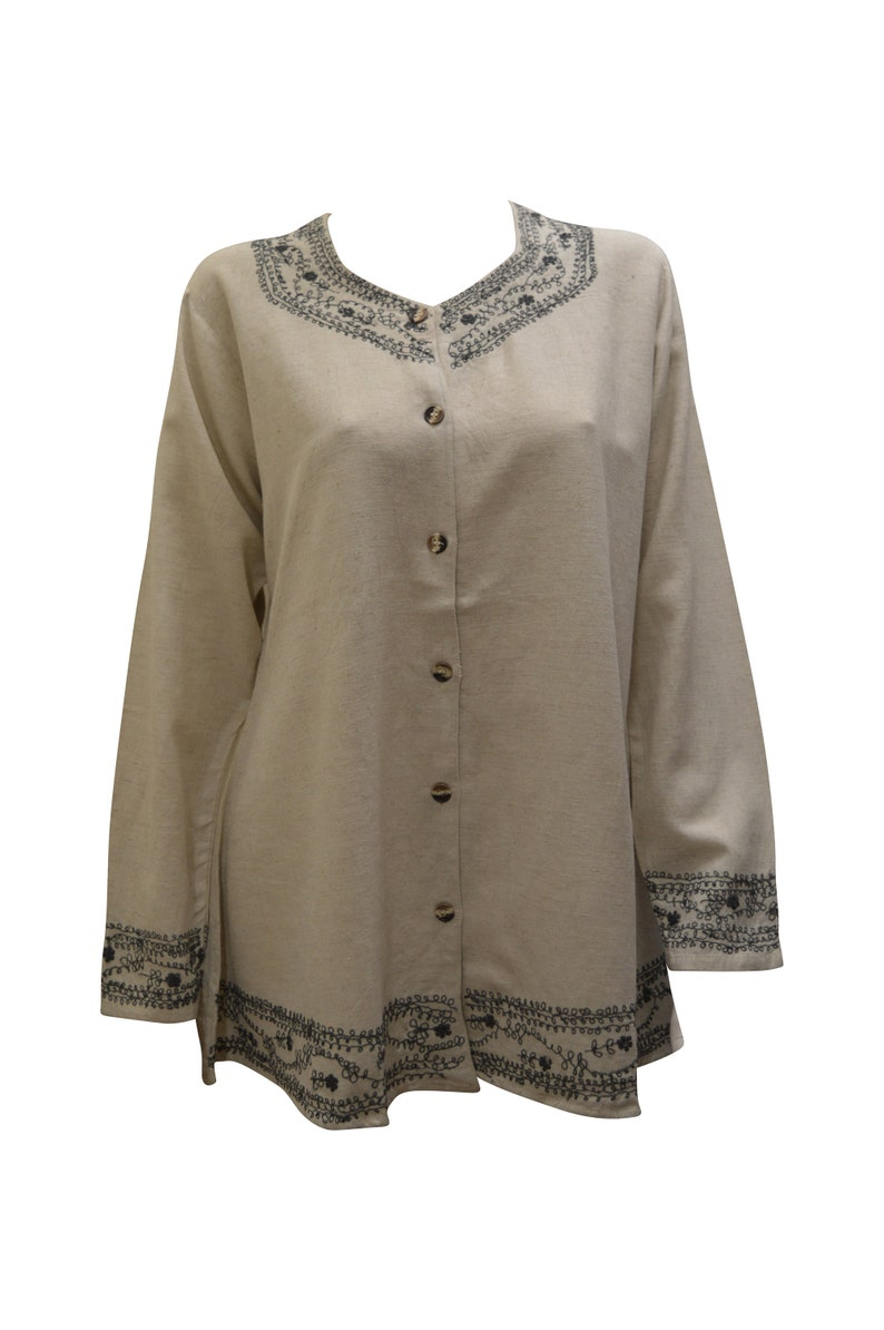 Womens boho hippie ethnic linen style cotton top long sleeve button up blouse shirt free size up to size 12