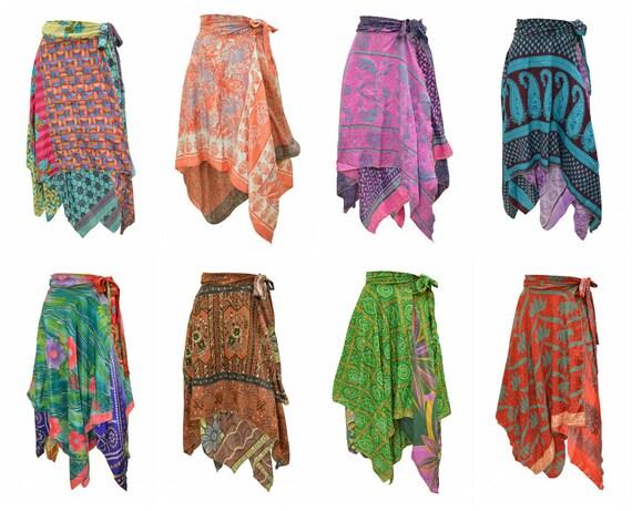 Upcycled Wrap- around Skirt Reversible Vintage Patchwork handkerchief Hem Boho Midi Free Size up to size 18 P344- P351