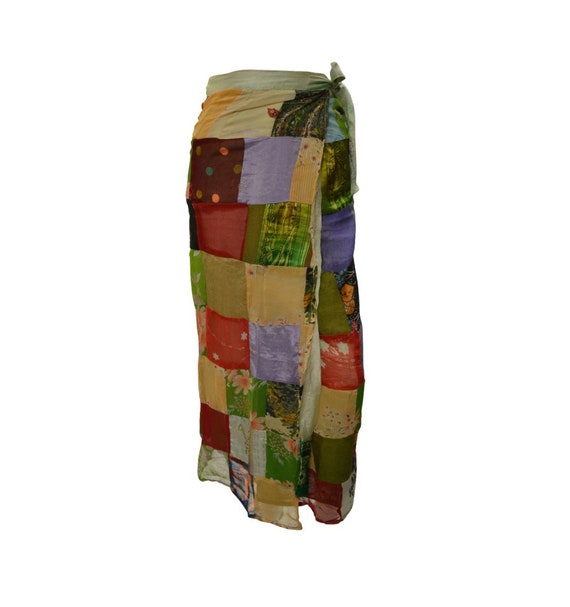 Boho hippie vintage style up-cycled reversible abstract patchwork maxi wrap skirt free size up to size 18 p271