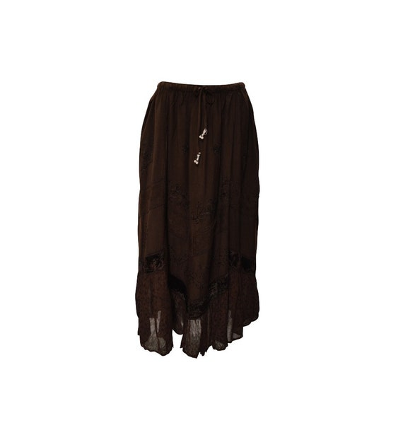 Womens Ladies Boho Gypsy Floral Tone To Tone Embroidered Velvet Patchwork Frilled Hem Handkerchief Maxi Skirt Freesize Up To 18