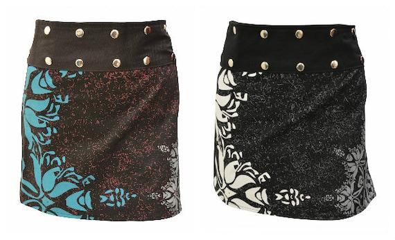 100% Cotton Retro Skirt Mini Abstract Print Boho Chic Wrap-around Free Size Up To 18