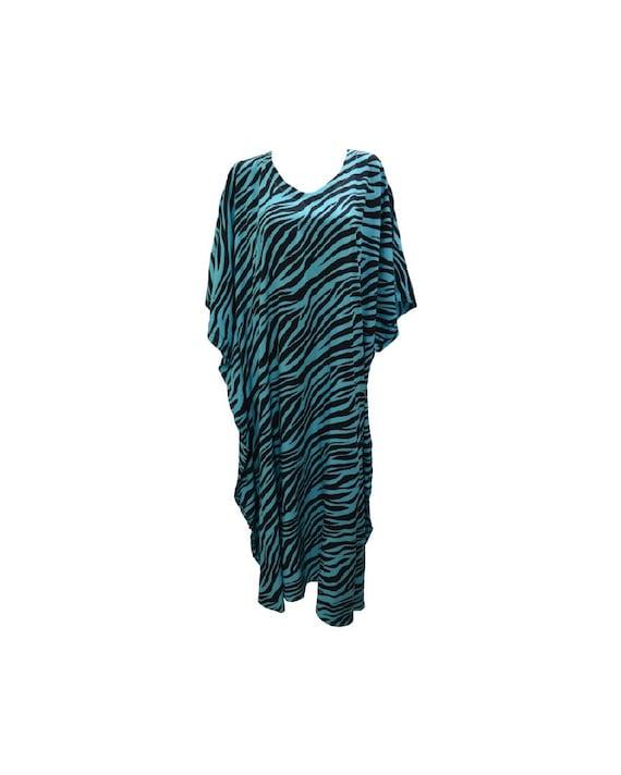 Womens Plus Size Kaftan Handmade Boho Zebra stripe Maxi Batwing Loungewear Free Size Up To 28 Blue