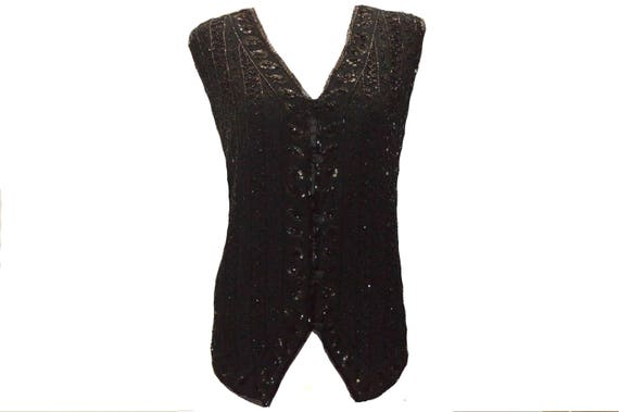 40's vintage inspired sequined beaded evening v-neck deco button down waistcoat free size up to 16