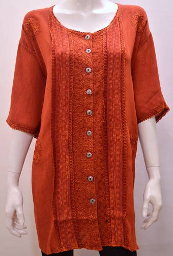 Plus Size Renaissance Boho Gypsy Hippy Embroidery Tunic Top FREESIZE UP TO  22 24 26 28 30