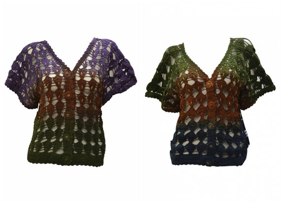 Womens Upcycled Crochet Cardigan Tie dye Knit Button Detail Sweater Free Size