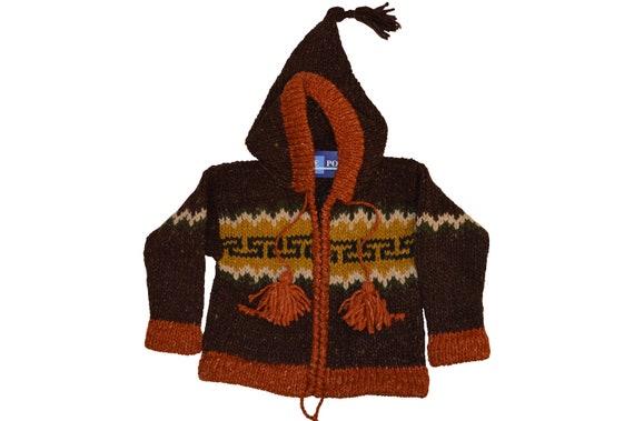Kids baby boho hippie pixie hooded nomad aztec ethnic 100% wool zip fleece coat jacket p8