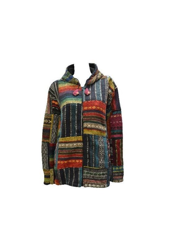 Bohemian 100% Cotton Jacket Unisex Hippie Fleece Lined Hood Warm Coat Multi S/M L/XL XXL