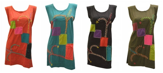 100% Cotton Recycled Tank Dress Boho Embroidered Upcycled Patch Hippie Vest Top Size M, L, XL