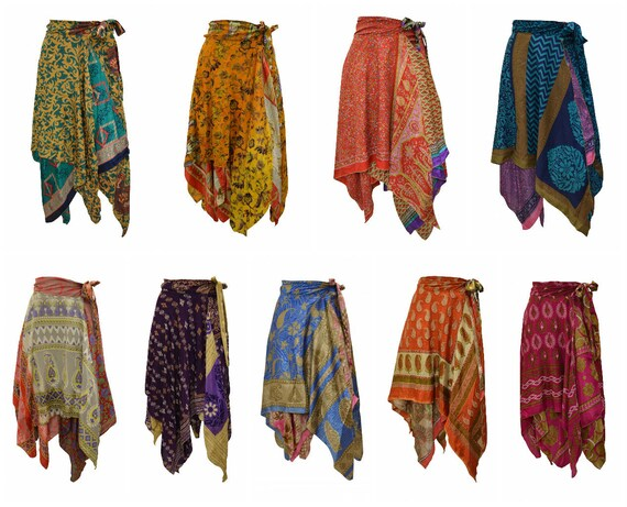 Upcycled Wrap- around Skirt Reversible Vintage Patchwork handkerchief Hem Boho Midi Free Size up to size 18 P260- P268