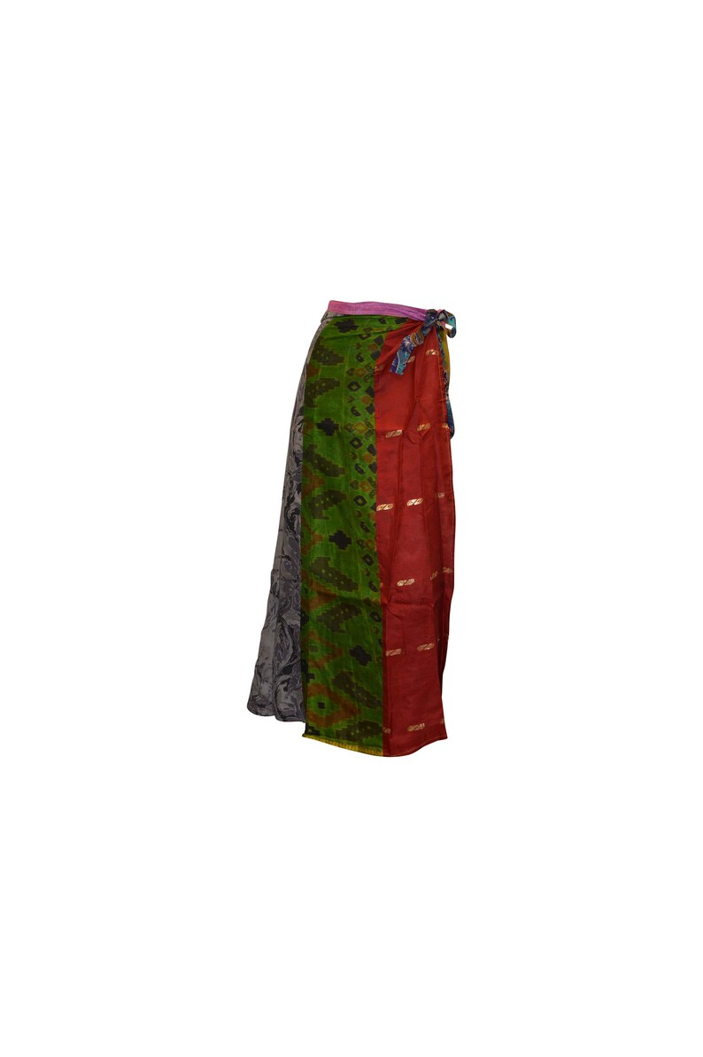 Boho hippie vintage style up-cycled reversible patchwork maxi wrap skirt freesize up to size 18 p28