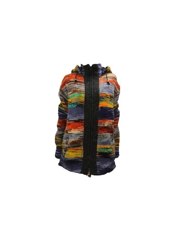 Handmade 100% Wool Cardigan Chunky Knit Unisex Jacket Boho Fleece Lining warm Hoodie Multi S/M