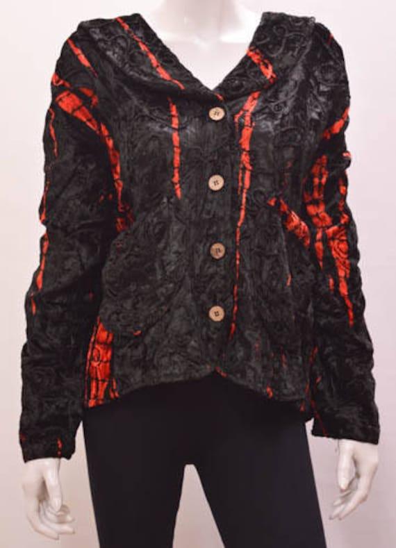 Plus Size Gothic Hippie Boho Tie Dye Striped Velvet Jacket - BLACK RED