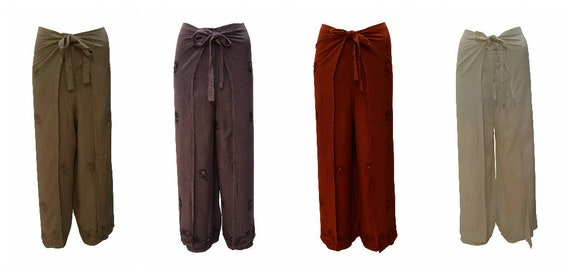 Womens Ladies Overlay Wrap around Floral Embroidery Mirror Wide Leg Trousers Sarong Pants Freesize 10 Up To 18